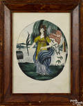 New England watercolor portrait of Liberty inscribed
