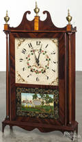 American mahogany pillar and scroll mantel clock