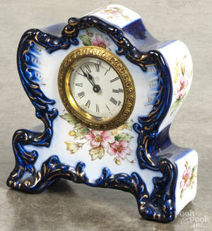 Ansonia Clock Co porcelain shelf clock