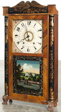 Eli Terry Junior mahogany stenciled column and splat shelf clock