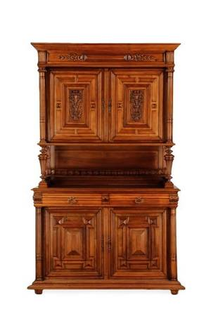 Renaissance Revival Style Walnut Court Cupboard