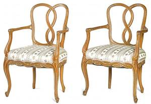 Pair of French carved and painted armchairs