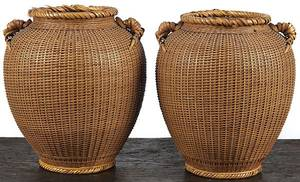 Pair of Japanese finely woven ikebana baskets