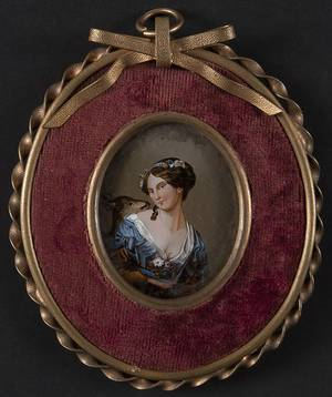Continental reverse painted miniature of a woman and deer