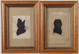 Three American hollowcut miniature silhouettes of political figures