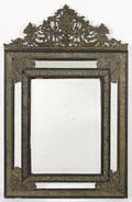 Continental beveled glass mirror with embossed brass surrounds