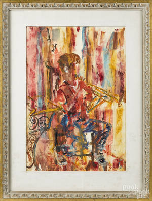 Mixed media of a boy playing the trumpet
