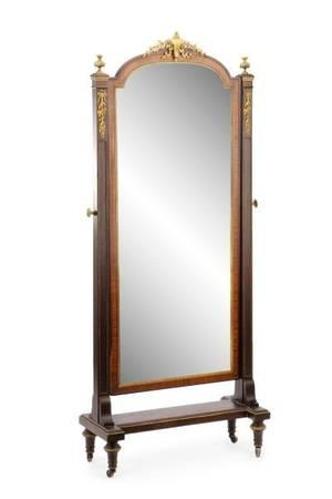 Louis XVI Style Gilt Metal Mounted Cheval Mirror