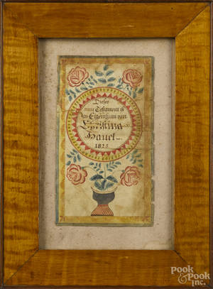 Southeastern Pennsylvania ink and watercolor fraktur bookplate