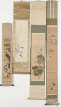 Five Japanese printed and painted scrolls