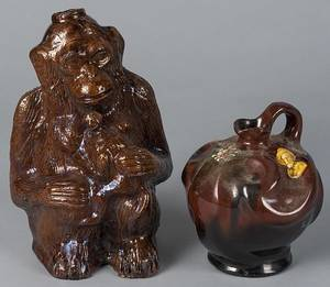 Continental redware monkey bottle