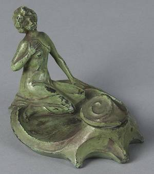 Art Deco spelter inkwell of a woman