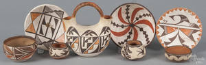 Eight pieces of Acoma and Zia pottery