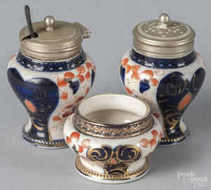 Threepiece Gaudy Welsh condiment set