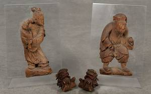 Pair of Chinese carved wood figural plaques of a man and woman