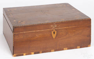 New England inlaid mahogany dresser box
