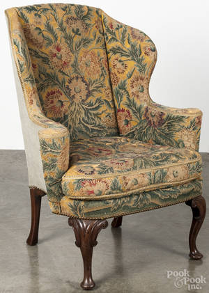 George II style mahogany wingback chair with floral needlework upholstery
