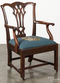 Chippendale walnut necessary chair