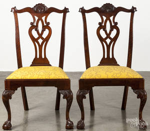 Pair of Centennial Chippendale walnut dining chairs
