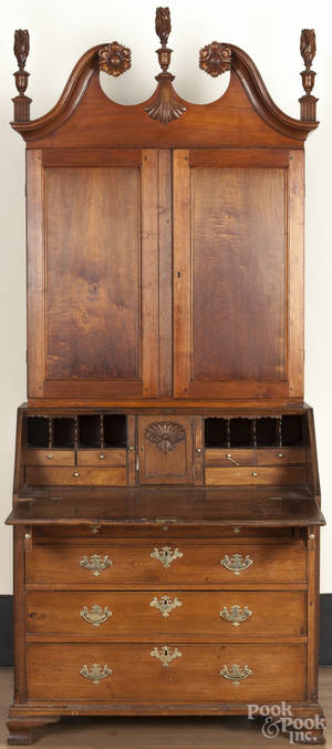 Pennsylvania Chippendale walnut secretary desk and bookcase