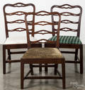 Assembled set of nine Chippendale walnut ribbonback dining chairs