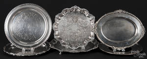 Two Sheffield silver plated footed trays