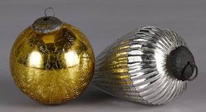 Two contemporary Kugel Christmas ornaments