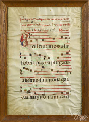 Illuminated musical manuscript page on vellum