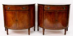 Pair of Federal Style Mahogany Demilune Cabinets