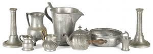 Nine pieces of assorted European pewter tablewares