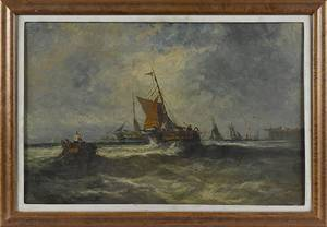 Oil on board seascape with sailboats