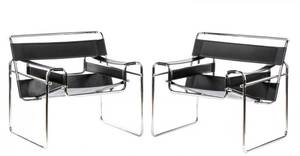Pair of Wassily Style Chrome  Leather chairs