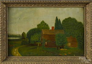 American primitive oil on board landscape with a cottage