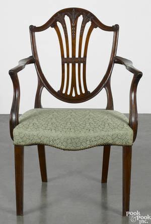 George III mahogany shieldback dining chair