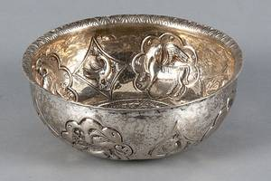 Spanish or Spanish Colonial chased silver bowl