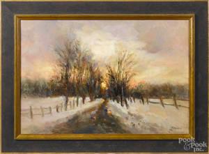 Oil on canvas sunset landscape
