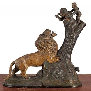 Kyser and Rex cast iron lion and monkeys mechanical bank