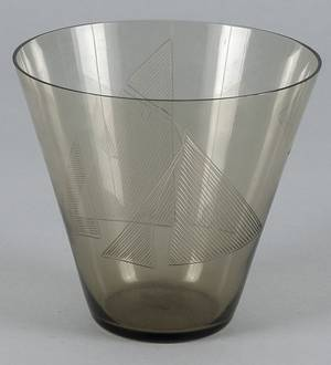 Midcentury modern glass vase with etched sailboat design