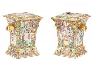 Pair of Rose Medallion Porcelain Bough Pots