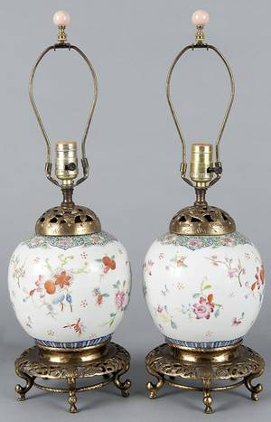 Pair of Chinese export porcelain famille rose ginger jars