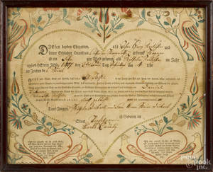 Pennsylvania printed and handcolored fraktur birth certificate