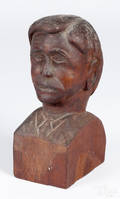 Carved mahogany bust of a gentleman