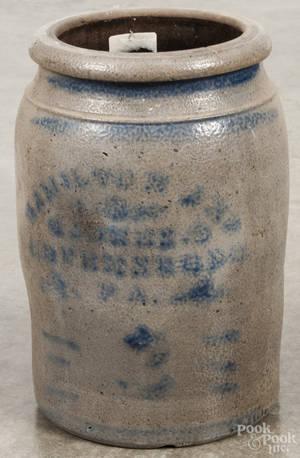Western Pennsylvania stoneware crock