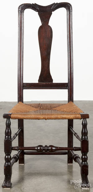 New England Queen Anne rush seat chair