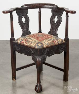 George III style carved oak corner chair