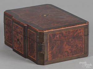 Victorian burled walnut sewing box