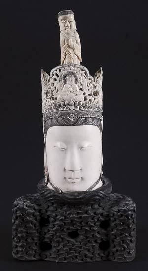 Chinese carved ivory Buddha head