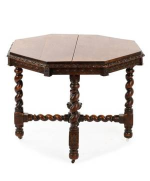 English Octagonal Oak Barley Twist Center Table