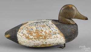 Carved and painted bluebill duck decoy mid 20th c
