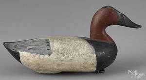 Two Upper Susquehanna River carved and painted canvasback duck decoys mid 20th c